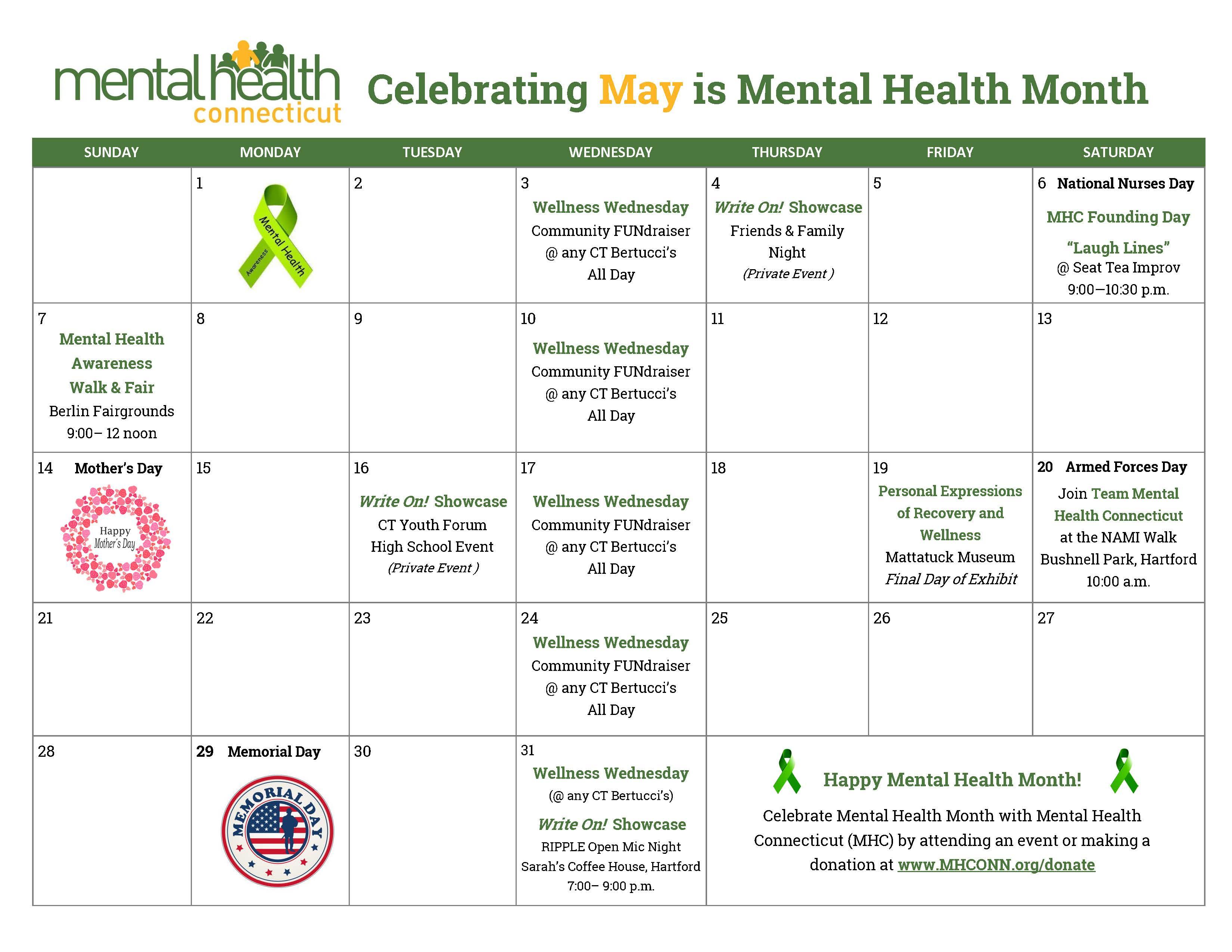 Wellness Calendar Ideas : Mental health month connecticut